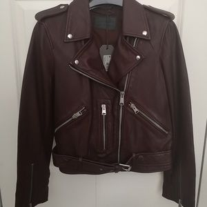 All saints balfern oxblood leather jacket
